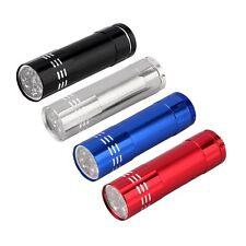 1pc Mini Aluminum UV Ultra Violet 9 LED Flashlight Torch Light Lamp Black CC