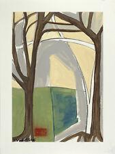 Large ORIGINAL Painting Elizabeth Mukerji MINIMAL ABSTRACT LANDSCAPE TREE c2