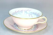 MINT 8 SETS VINTAGE MINTON CHINA MALTA S676 FOOTED CUP &SAUCERS PINK LAUREL GOLD