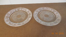 SANDWICH GLASS SET OF 2 CLEAR GLASS DINNER PLATES