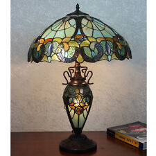 Blue & Green Dragonfly Art Deco Tiffany Style Stained Glass Dual Lit Table Lamp