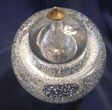 Glass Oil Lamp tiny bubbles hand blown with brass wick