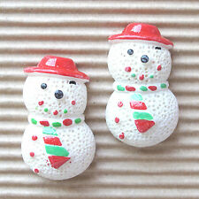 "US SELLER - 10 pcs x (1.25"") Resin Snowman w/Hat Flatback Beads for Cards SB445B"