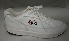 FILA MENS SIZE 6 SNEAKERS WHITE LEATHER LOGO ON SIDES RED AND BLUE