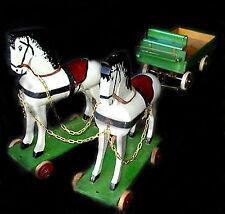 Giocattolo anni 60' - Old Toy Horse Grande Coppia di Cavalli in legno con Carro
