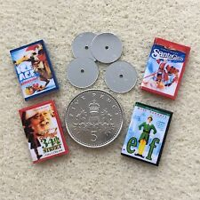 4 DOLLS HOUSE MINIATURE CHRISTMAS DVDs Santa Claus Elf Ice Age 34th St. HANDMADE