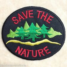 SAVE THE NATURE EARTH TREE WATER EMBROIDERY IRON ON PATCH BADGE #BLACK