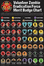 ZOMBIE APOCALYPSE - MERIT BADGE POSTER - 24x36 SHRINK WRAPPED - CHART 241146