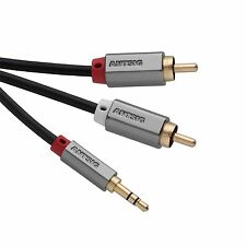 Antsig 3.5mm MALE TO 2 RCA MALE AUDIO CABLE 1.5m Gold-Plated Contacts *AUS Brand