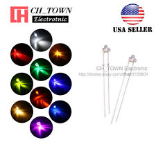 200Pcs 10Lights 2mm Round Top Water Clear LED Diodes White Red Blue Mix Kits