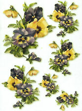 Rice Paper for Decoupage, Scrapbook Sheet, Craft Paper Yellow Pansy