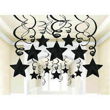 30 Jet Black Shooting Star Swirl Decorations Graduation,Wedding,Birthday Parties