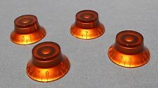 4 NEW AMBER TOP HAT VOLUME TONE KNOBS FOR GIBSON GUITARS