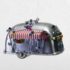 AIRSTREAM CAMPER WITH WITH AWNING MERCURY GLASS CHRISTMAS TREE ORNAMENT
