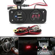 12V Car Cigarette Lighter Power Socket Voltmeter Adapter 2 Port USB Charger 2in1