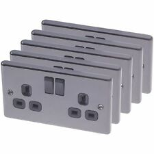 Pack of 5 13A 2-Gang SP Switched Plug Sockets Black Nickel