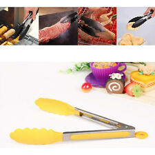 Useful Stainless Steel Yellow Silicone 26cm Tongs Kitchen Salad BBQ Cook Serving