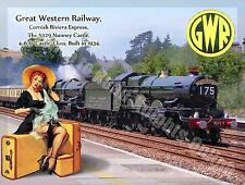 Nunney Castle, 5029 Steam Train, GWR, Railway, Pin Up Girl, Large Metal/Tin Sign