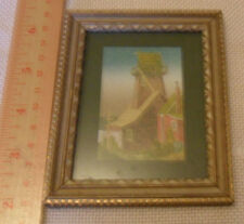 Miniature old picture in frame - water tower and barn -cute carved wood frame