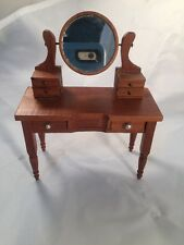 Dollhouse Miniature Vanity Dressing Table with Flip Up Mirror and Drawers Wooden