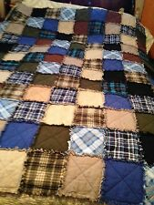 Twin Size Rustic Rag Quilt Blanket, Handmade, You Choose Fabric Deposit Only