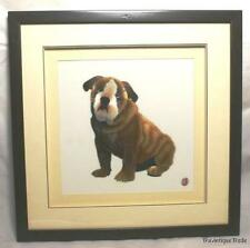 VINTAGE FRAMED SIGNED ARTWORK CHINESE EMBROIDERY OF DOG 15.5X15.5 INCHES IN BOX