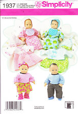 Simplicity 1937 Baby Doll Clothes Pattern Dress Top Pants Skirt Bib Hat Booties