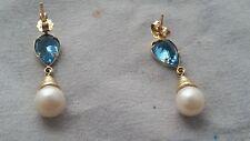 Vintage 14k solid gold pearl blue topaz earrings modernist design