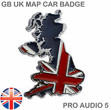 England Union Jack GB Car MAP Badge Metal Chrome MG Jaguar TVR Van Truck Boot UK