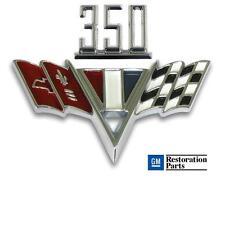 CHEVY 350 V-Flag Fender Emblem Set ** Chevy II, Chevelle, Camaro & Full Size