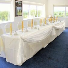 BEIGE Elegant Wedding Table Valance Chair Decor Sheer Swags Fabric Any Party