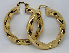 New Womens Lady Gold Filled Big Twist Creole Ear Hoop Hoops Earrings 50mm*8mm
