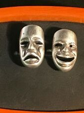 "Stunning Sterling Silver "" Happy/ Sad Theatre Mask"" Cufflinks"