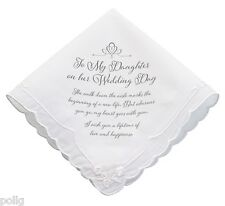 TO MY DAUGHTER On Her Wedding Day Bridal Gift Keepsake Handkerchief Verse Hankie
