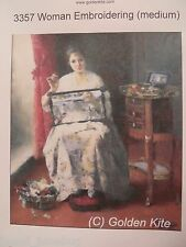 45% Off Golden Kite Counted X-stitch chart - #3357 Woman Embroidering (Medium)