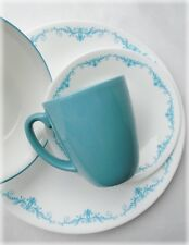 16pc Corelle GARDEN LACE Dinnerware Set *TEAL BLUE Turquoise Flourishes Swirls