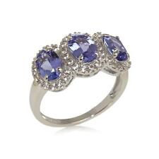 COLLEEN LOPEZ 2.27 CT TANZANITE & WHITE ZIRCON STERLING 3-STONE RING SIZE 7 HSN