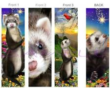 3 Lot-FERRET BOOKMARK Animal Pet Art Brown Book Mark figurine Card-No cage / toy