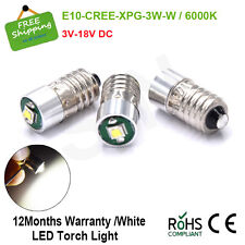 3X 3V 6V 12V 18V CREE LED LAMP E10 SCREW WHITE BICYCLE TORCH E10 1447 MES Bulbs