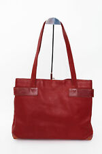 GUCCI Vintage Red Leather Carryall Large Embossed Tote Hand Bag Shopper Purse