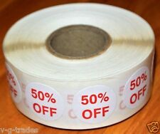 "LOT 1000 Self-Adhesive 50% OFF Labels 3/4"" Stickers Tags Retail Store DISCOUNT !"