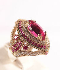 Turkish Jewelery Ottoman Authentic Ruby Topaz 925K Sterling Silver Ring Size 8.5