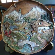 Vintage Carved Wooden Wood Resin 3D Wall Plate Painted Church Cottage Stream