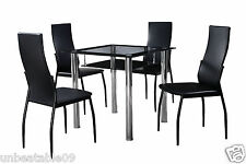 Black Glass Dining Table Set Square and 4 Faux Leather Chairs & Black Undershelf