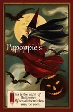 Fabric Block Halloween Vintage Image Flying Witch Postcard on Fabric