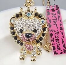 Cute NWT Betsey Johnson Necklace �� Tiger King Baby Pink Gold Crystals Cutest ❤️