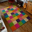 Go Multi Coloured Modern Wool Rugs - Block Design Chunky Rug 80X150CM Warrington
