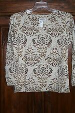 Coldwater Creek~NWT~vintage brocade TEE TOP~long sleeves~cotton/spandex~LG 14 16
