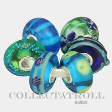 Authentic Trollbeads Silver RETIRED Blue & Green Kit  6 Beads  63025 TGLBE-00007