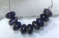9 NATURAL UNTREATED AFRICAN PURPLE SUGILITE BEADS STRAND 8mm RONDELLES 23.45ctw